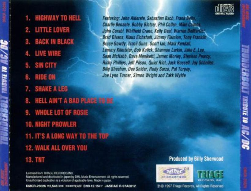 Various Artists - Thunderbolt: Tribute To AC/DC (Japanese Edition ...